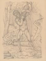 Scenka mitologiczna w lesie
