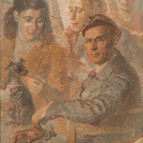 Portret rodziny z pieskiem